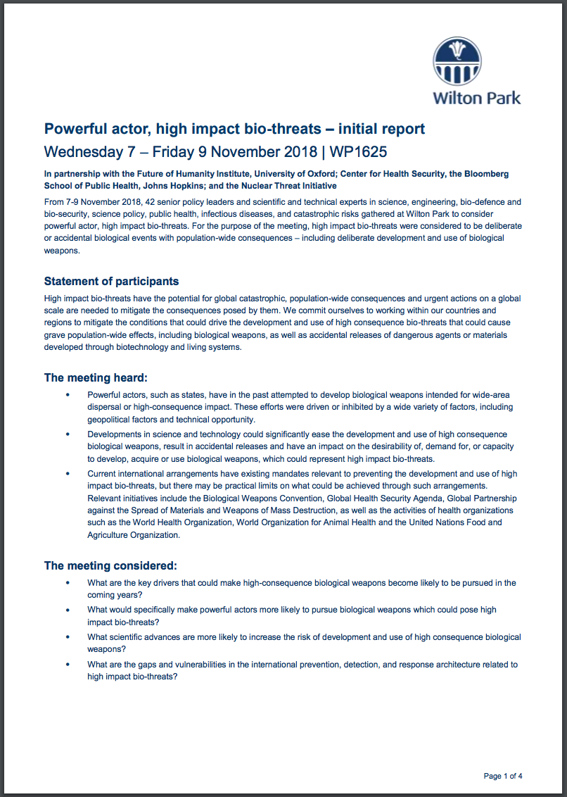 Wilton Park high-impact biothreats report cover
