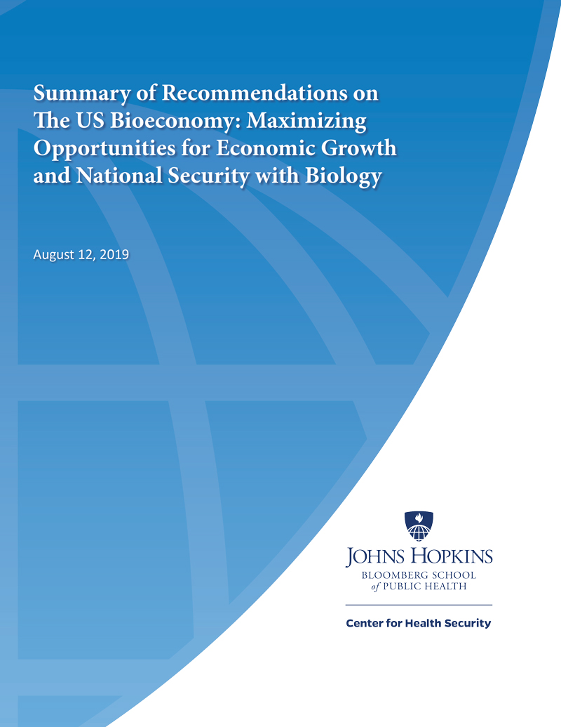 Report cover: Summary of Recommendations on The US Bioeconomy: Maximizing Opportunities for Economic Growth and National Security with Biology