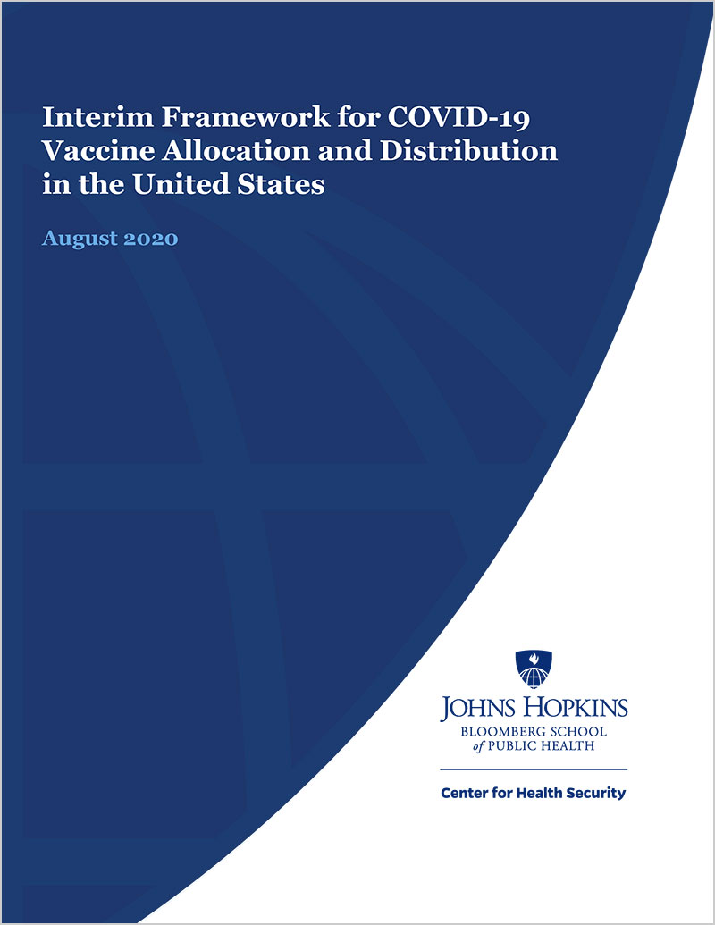 Report cover for Interim Framework for COVID-19 Vaccine Allocation and Distribution in the United States