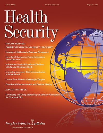 Health Security cover VOLUME 16, ISSUE 3 / JUNE 2018